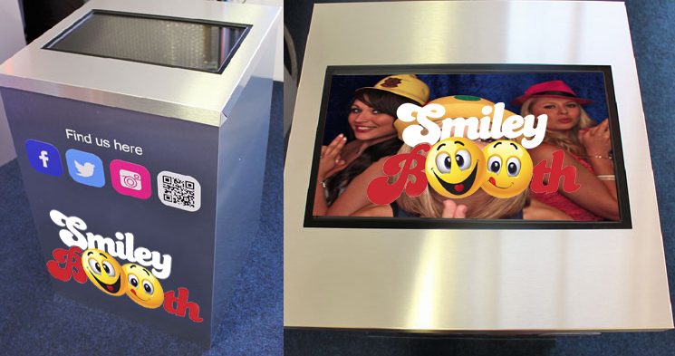 Image shows social media terminal with Smiley Booth logo