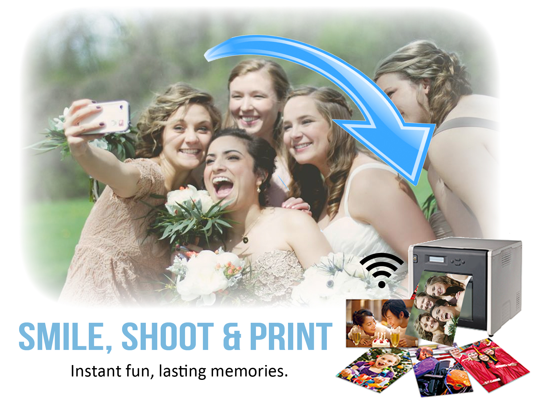 image shows graphic with smile shoot and print text and a bridal party taking a selfie and sending this to a printer