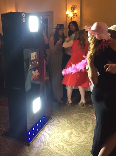 images shows guests using the smiley booth tower booth