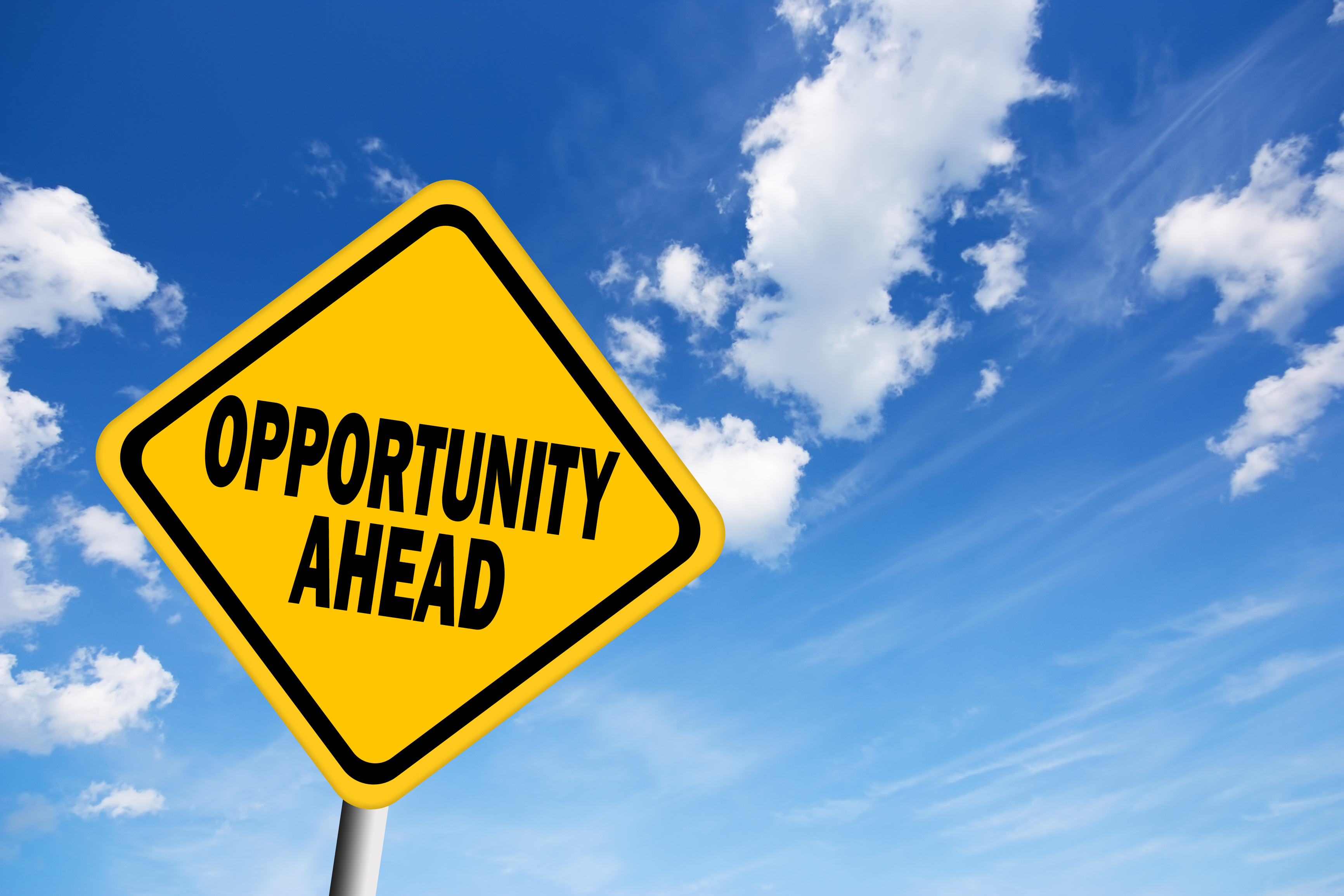 image showing opportunity ahead sign representing photo booth franchise opportunity